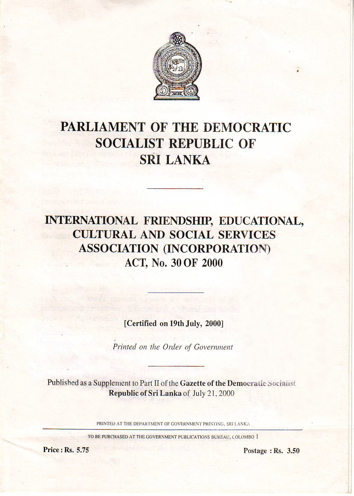 Certification of Parliment